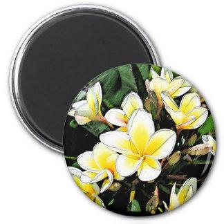 Plumeria Artistic Touch 6 Cm Round Magnet
