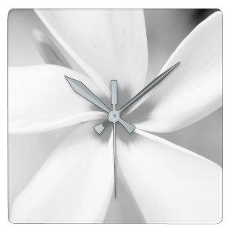 Plumeria - Black and White Macro Portrait Square Wall Clock