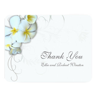 Plumeria Flourish Personalized Thank You Note 11 Cm X 14 Cm Invitation Card