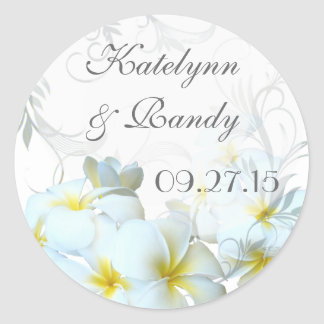 Plumeria Flourish Round Wedding Sticker