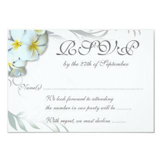 "Plumeria Flourish RSVP Wedding Enclosure Card 3.5"" X 5"" Invitation Card"