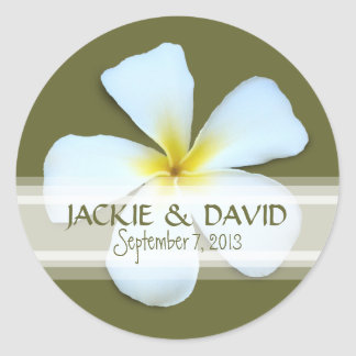 Plumeria Flower Custom Wedding Sticker