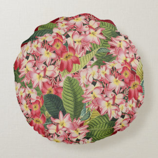 Plumeria Flower Floral Tropical Round Pillow