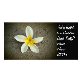 Plumeria flower Hawaiian party invite photo card