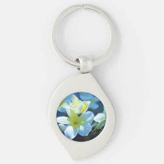 plumeria flower Silver-Colored swirl key ring