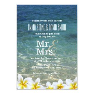 Plumeria Flowers Beach Destination Wedding Card