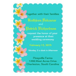 Plumeria Flowers Custom Wedding Invitation