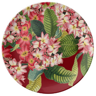 Plumeria Flowers Floral Tropical Porcelain Plate