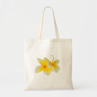 Plumeria Flowers Hawaiian White Yellow Frangipani Tote Bag