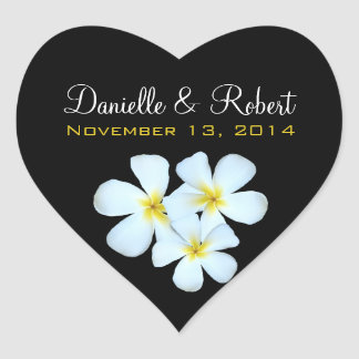 Plumeria Flowers on Black Wedding Sticker