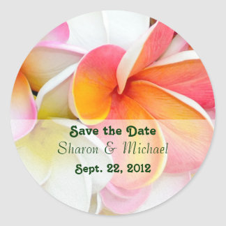 Plumeria Flowers Wedding Classic Round Sticker
