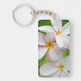Plumeria Frangipani Hawaii Flower Customised Blank Double-Sided Rectangular Acrylic Key Ring