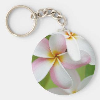 Plumeria Frangipani Hawaii Flower Customised Blank Basic Round Button Key Ring