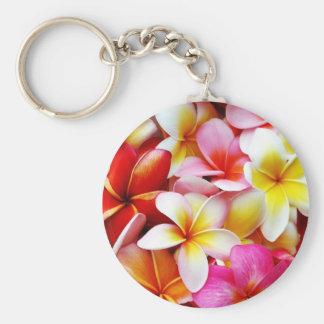 Plumeria Frangipani Hawaii Flower Customized Basic Round Button Key Ring