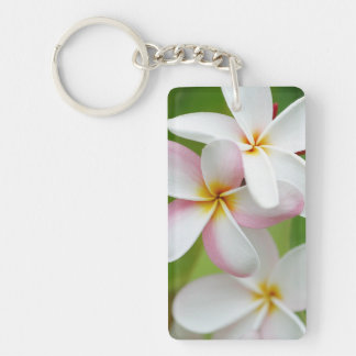 Plumeria Frangipani Hawaii Flower Customized Blank Double-Sided Rectangular Acrylic Key Ring