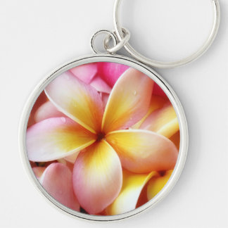 Plumeria Frangipani Hawaii Flower Customized Blank Silver-Colored Round Key Ring