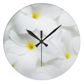 Plumeria Lei Flowers Personalized Hawaiian Flower Large Clock