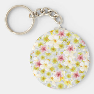 Plumeria Love Me Basic Round Button Key Ring