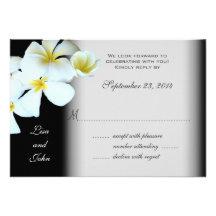 Plumeria on Black Wedding Invitation Reply Cards