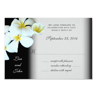 Plumeria on Black Wedding Invitation Reply Cards