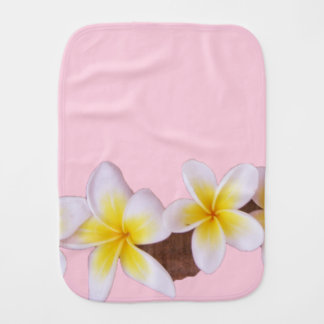 Plumeria on Pretty Pink Baby Burp Cloths