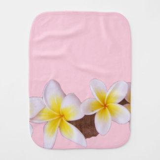 Plumeria on Pretty Pink Burp Cloth