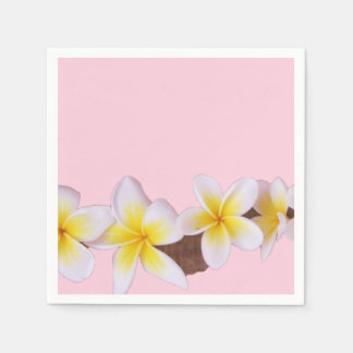 Plumeria on Pretty Pink Paper Napkins
