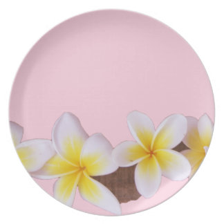 Plumeria on Pretty Pink Plate