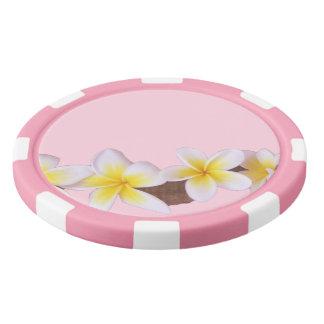 Plumeria on Pretty Pink Poker Chips