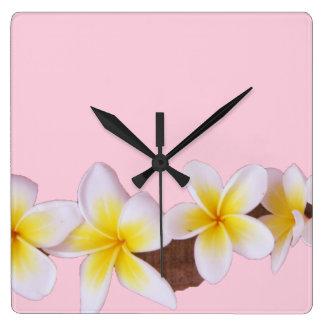 Plumeria on Pretty Pink Square Wall Clock