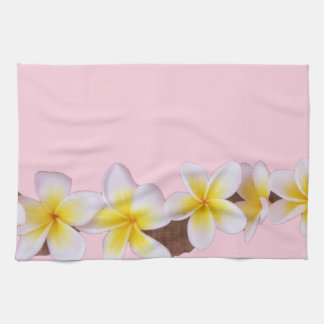 Plumeria on Pretty Pink Tea Towel