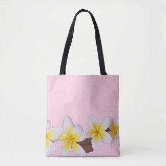Plumeria on Pretty Pink Tote Bag