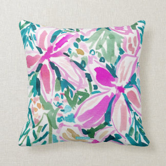 PLUMERIA PARADISE Tropical Floral Watercolor Cushion