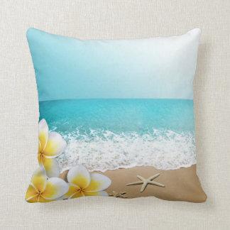 Plumeria Starfish Beach Tropical Hawaii Cushion