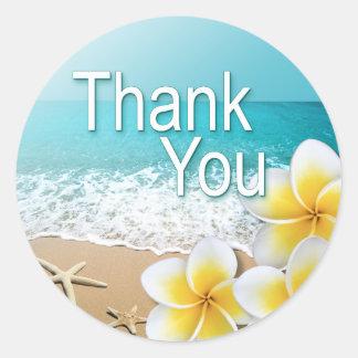 Plumeria Starfish Hawaii Beach Thank You Stickers