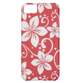 Plumeria Swirl Red Cover For iPhone 5C