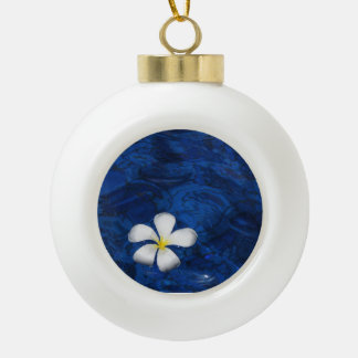Plumeria White Flower Floral Patterned Ceramic Ball Decoration
