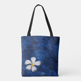 Plumeria White Flower Floral Patterned Tote Bag