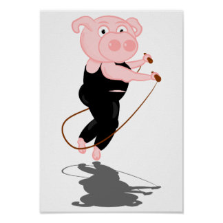 Plump Pig Jumping Rope Posters