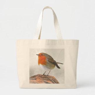 Plump Robin Redbreast Large Tote Bag