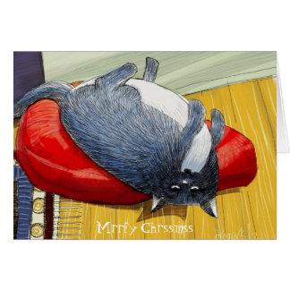 Plump Tuxedo cat upside down Christmas edition Card