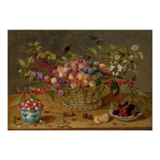 Plums, Apricots, Cherries and Currants in a Basket Poster