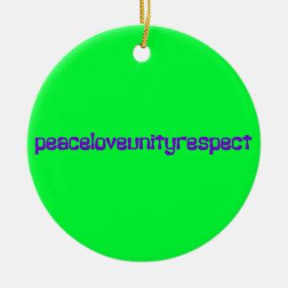 PLUR Peace Love Unity Respect Rave Purple Letters Ceramic Ornament