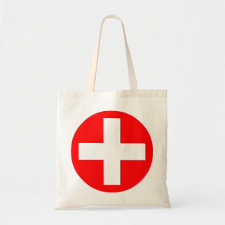 Plus Sign in white with red Budget Tote Bag