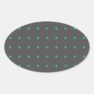 plus sign pattern oval sticker