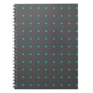 plus sign pattern spiral notebook