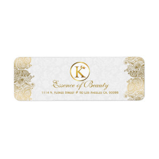 Plush White & Gold Paisley Lace Frame Return Address Label