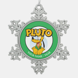 Pluto | Cartoon With Name Add Your Name Snowflake Pewter Christmas Ornament