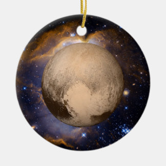 Pluto Heart Galaxy Nebula and Stars Ceramic Ornament