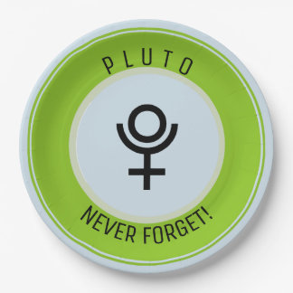Pluto, never forget 9 inch paper plate